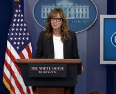 "Former star of ""The West Wing"" greets White House reporters"