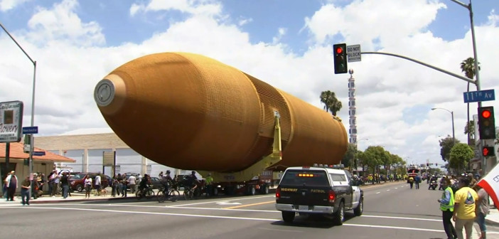 Space shuttle tank ends trek across Los Angeles