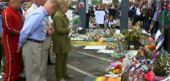 Clinton lays flowers at Pulse nightclub