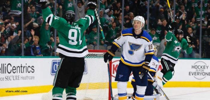 Stars catch Blues in standings with 2-1 win